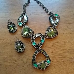 "Awesome 12""Boho Necklace Earring Set  Green Stones"